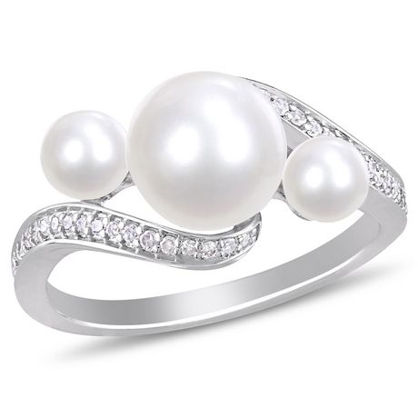 Miabella Cultured Freshwater Pearl and 1/6 Carat T.W. Diamond 10K White Gold 3-Stone Ring - image 1 of 4