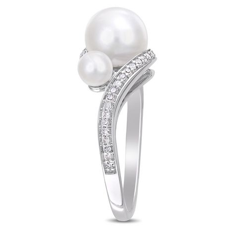 Miabella Cultured Freshwater Pearl and 1/6 Carat T.W. Diamond 10K White Gold 3-Stone Ring - image 2 of 4