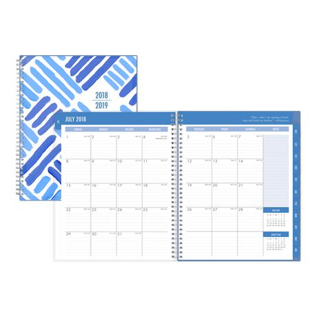 Blue Sky Crosshatch Large Weekly/Monthly Cyo Planner for 2018-19 - image 1 of 3