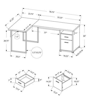 Bureau d'ordinateur Monarch Specialties en cappuccino - image 3 de 3