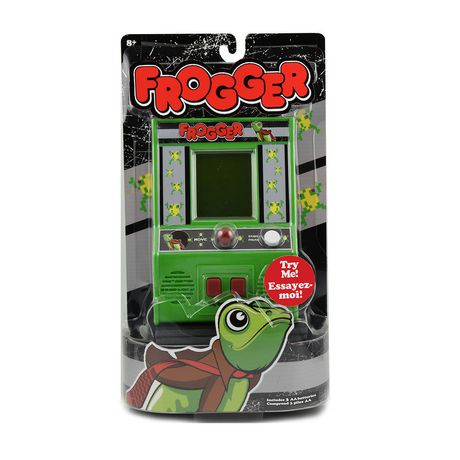 Portable green arcade video game with Frogger loaded onto it