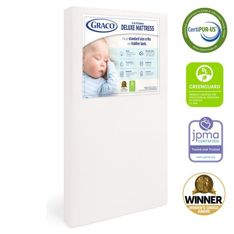 Graco Deluxe Foam Crib and Toddler Mattress (White) – Ships Compressed in Lightweight Box, Ideal Mattress Firmness, Featuring Soft, Water-Resistant, Removable, Hand-Washable Outer Cover - image 1 of 8