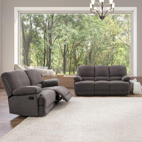 fabric recliner sofa. CorLiving Lea Grey Chenille Fabric Reclining Sofa Set Recliner