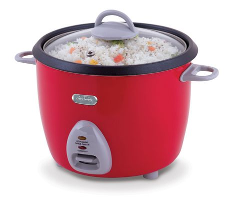 Red and grey 16-cup rice cooker with glass lid from Sunbeam