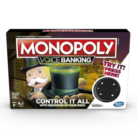 Box containing Monopoly board game with voice banking, made by Hasbro Games