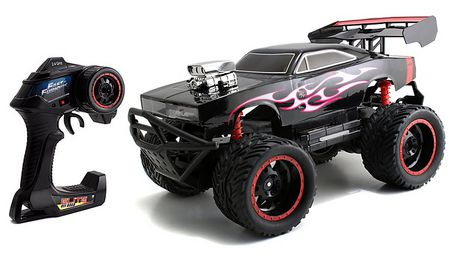 Black remote-controlled Dodge Charger with lightning paint job, made by Fast & Furious