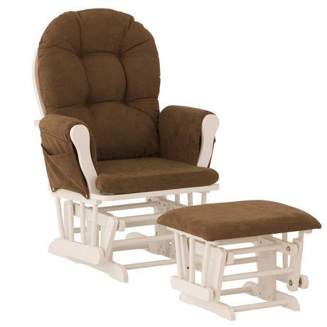 Storkcraft comfort glider and ottoman white finish for Stork craft tuscany glider rocking chair ottoman