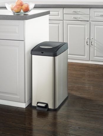 Hometrends 30 L Slim Rectangular Trash Can Walmart Canada