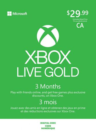 3 Month Xbox Live Gold Membership Digital Download