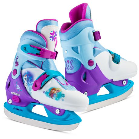 Blue, purple and white ice skates with Frozen motif on them