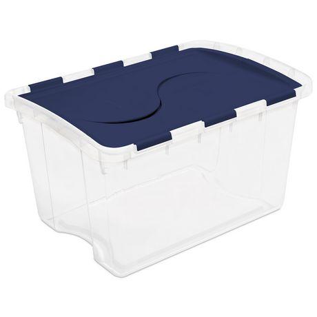 Boîte de rangement Sterilite de 45 litres avec couvercle à charnière en bleu foncé - image 1 de 1