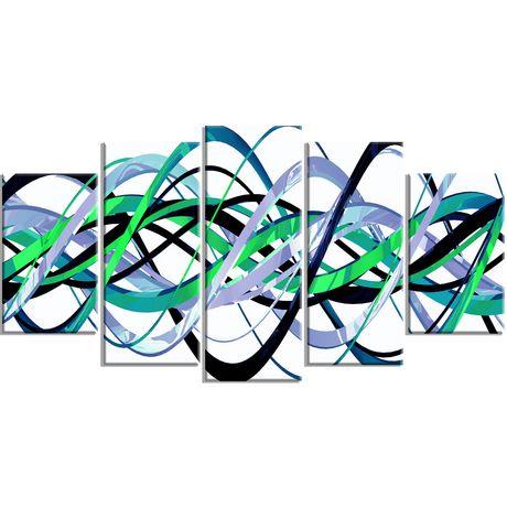 D coration murale sur toile design art h lice vert et for Decoration murale walmart