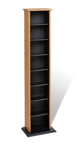 Slim Multimedia Storage Tower Oak Amp Black Walmart Canada