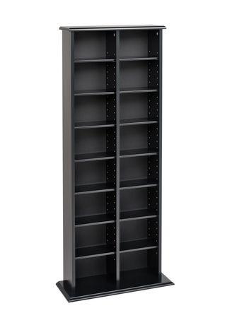 Double Multimedia Storage Tower Black - image 1 of 2