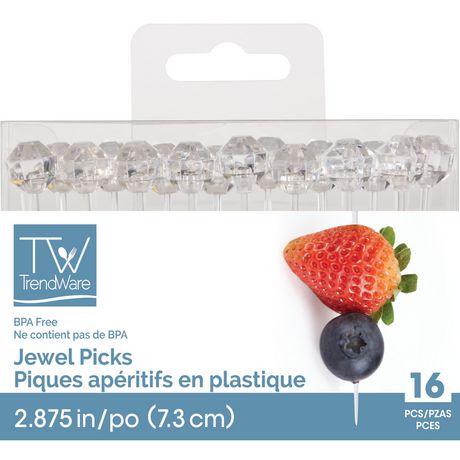 Creative Converting 16 Count Diamond Shaped Plastic Picks Mini Clear