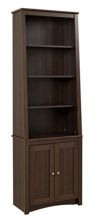 Prepac Tall Slant-Back Bookcase with 2 Shaker Doors Espresso - image 1 of 5