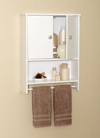 Mainstays White Wood 2 Door Wall Cabinet