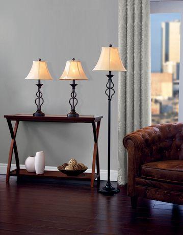 hometrends Iron Wave Table Floor L& Set & hometrends Iron Wave Table Floor Lamp Set   Walmart Canada