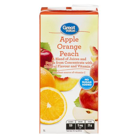 Great Value Apple Orange Peach Juice Blend 1L - image 1 of 2