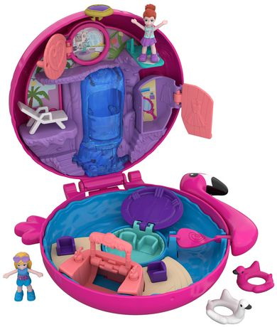 Round Polly Pocket clamshell container with flamingo-themed toys inside
