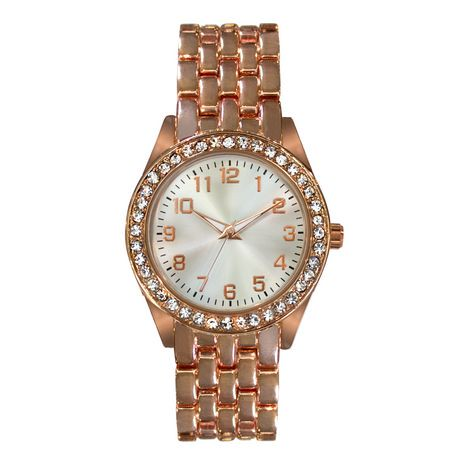 tone walmart ip s bezel canada gold women watches fashion en watch rose glitz with womens on details