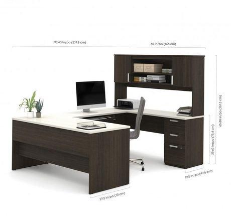 ens bureau en u ridgeley de bestar avec classeur lat ral et biblioth que walmart canada. Black Bedroom Furniture Sets. Home Design Ideas