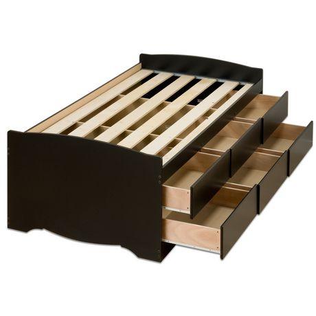 base de lit capitaine haute de prepac avec rangement de 6 tiroirs pour lit simple. Black Bedroom Furniture Sets. Home Design Ideas