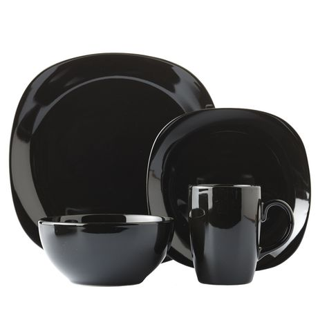 sc 1 st  Walmart Canada & Mainstays Black Square 16 Piece Dinner Set | Walmart Canada