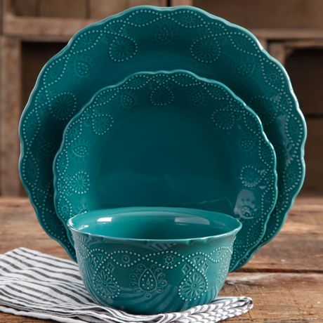 The Pioneer Woman Cowgirl Lace 12-Piece Transparent Glaze Dinnerware Set Teal - image 2 of 7