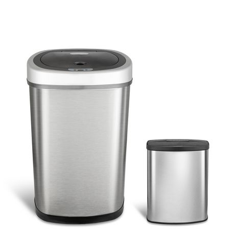 Nine Stars Motion Sensor Touchless 13.2-Gallon and 2.1 Gallon Trash Can Combo - image 2 of 6