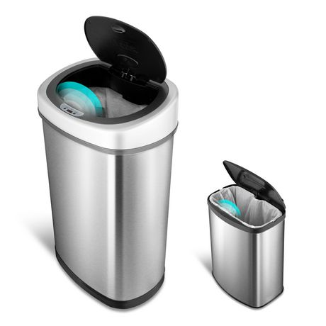 nine stars motion sensor touchless 13 2 gallon and 2 1 gallon trash can combo walmart canada. Black Bedroom Furniture Sets. Home Design Ideas
