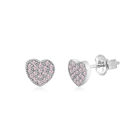 Pair of sterling silver heart stud earrings with Pavé simulated diamonds, made by UnicornJ