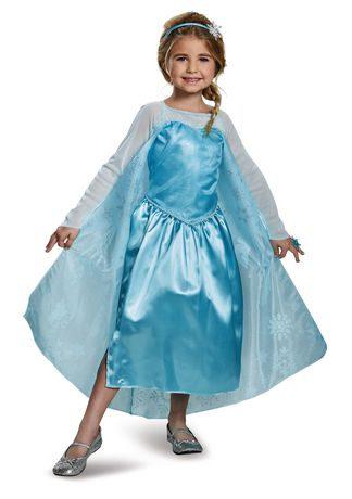Smiling brunette girl dressed in Elsa costume from Disney's Frozen
