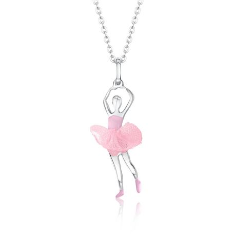 Sterling silver necklace chain with pendant of silver ballerina wearing green tulle tutu, made by UnicornJ