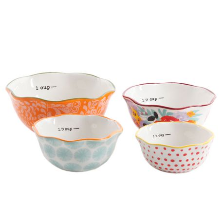 The Pioneer Woman Flea Market 4-Piece Ceramic Decorated Measuring Bowls - image 1 of 5