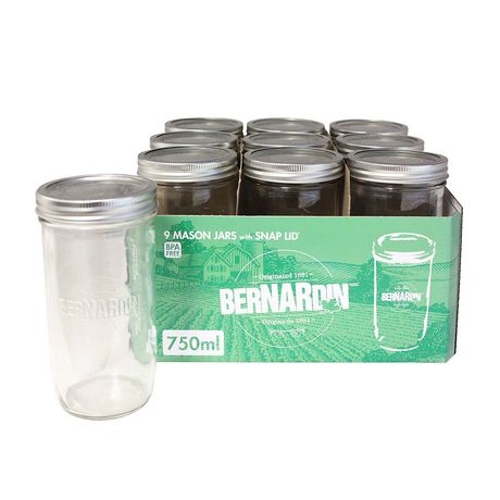 Bernardin 750 Ml Wide Mouth Mason Jars With Snap Lid