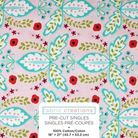 Tissu pré coupé Fat Quarter Chirpie de Fabric Creations à imprimé de floral - image 1 de 1
