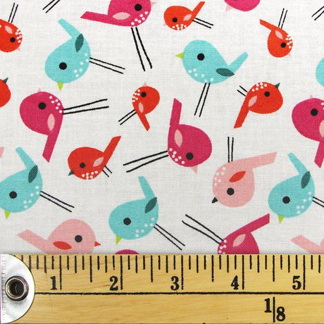 Fabric Creations White with Pink, Orange and Blue Birdies Fat Quarter Pre-Cut Fabric - image 1 of 1