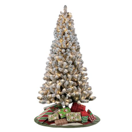 Holiday Time 6.5' Pre-Lit Flocked Frisco Pine Christmas Tree - White - image 1 of 1