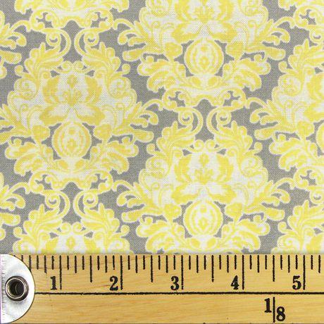 Tissu pré-coupé Fat Quarter de Fabric Creations à motif de treillis gris et jaune - image 1 de 1