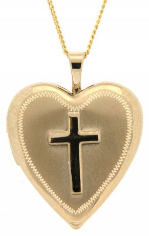 silver cross sterling heart lockets