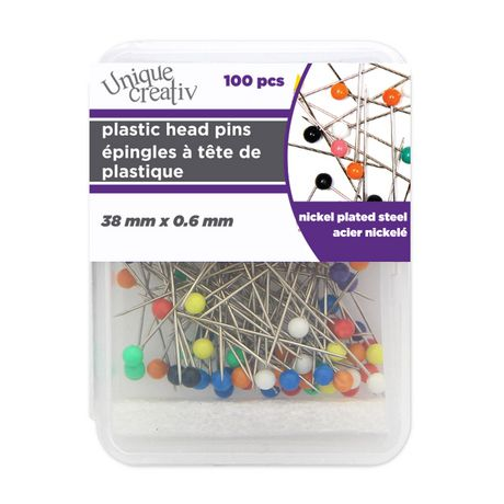 Unique Creativ Assorted Colour Plastic Head Pins - image 1 of 3