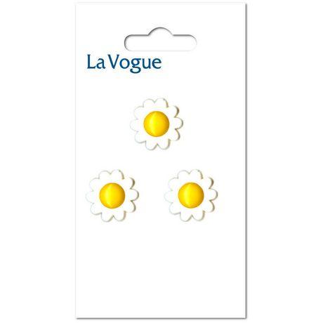 Bouton à tige La Vogue à fleur blanc et jaune - image 1 de 2