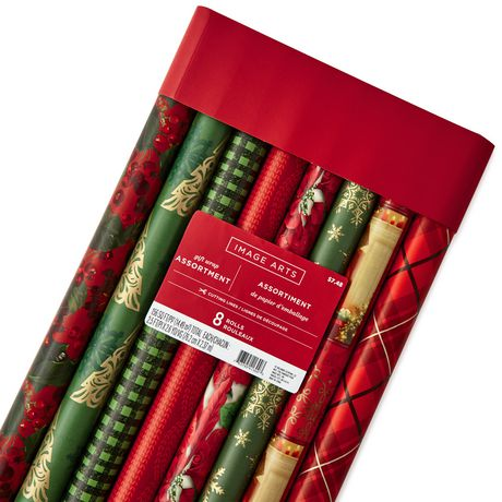 Image Arts 30 Quot Red Green And Gold Wrapping Paper Rolls Pack Of 8 Walmart Canada