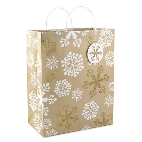 Christmas Gift Bags.Image Arts Snowflakes On Kraft Paper X Large Christmas Gift Bag 16