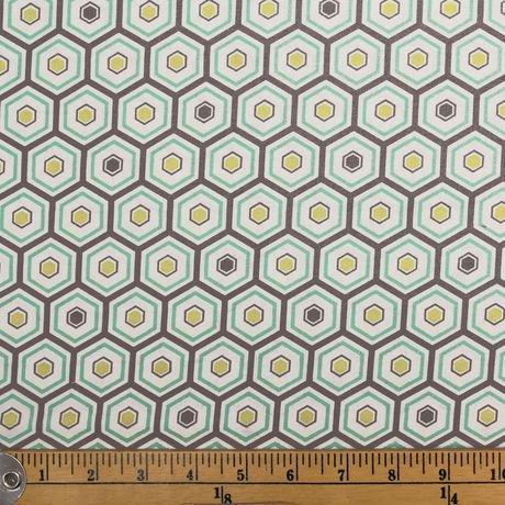 Tissu au m tre en coton fabric creations imprim d 39 hexagones aqua wal - Achat de tissus en ligne canada ...