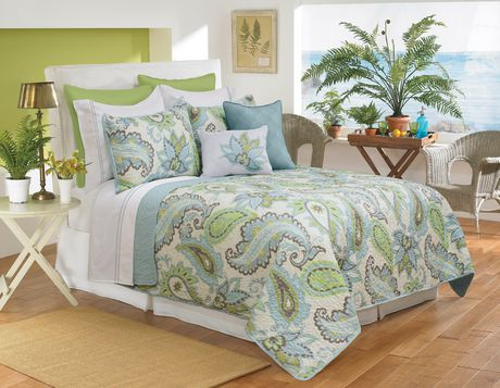 Safdie & Co. Home Deluxe Collection Aqua 100% Polyester Quilt Set - image 1 of 1