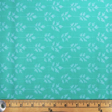 Fabric by The Metre Fabric Creations Turquoise Leaves Cotton - image 1 of 1