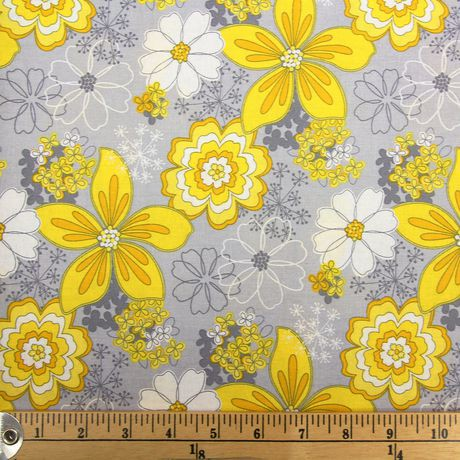 Fabric By The Metre Fabric Creations Yellow Flowers On