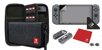 Dark grey soft zippered case from Nintendo Switch containing screen protector, earbuds, and character-branded Joy-Con Armor Guards and thumb caps, cleaning cloth, and applicator